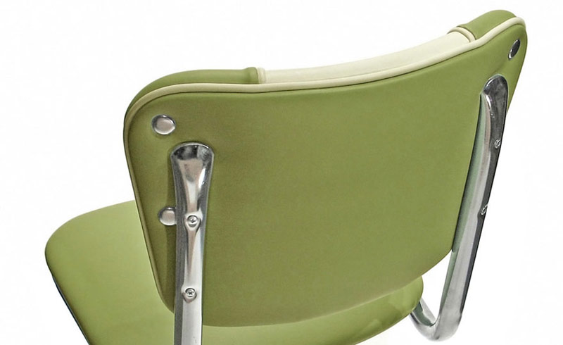 Soda Fountain Counter Stool Seat Back of Back Detail - V Back Style