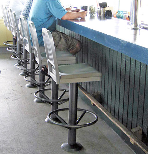 Decodina Aluminum Soda Fountain Bolt Down Counter Stool Installation