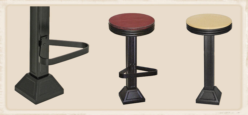 Western Style Drug Store Soda Fountain Counter Stools with Solid oak seats