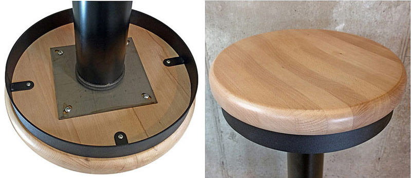 Soda Fountain Counter Stool, Solid Wood Seat Underside and Detail View