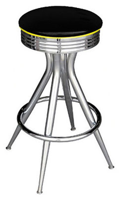 Retro Chrome Sputnik Bar Stool All Welded Frame Black Vinyl Upholstery with Yellow Piping