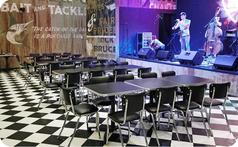 Stacking Round Tube Chrome Diner Chairs Installation