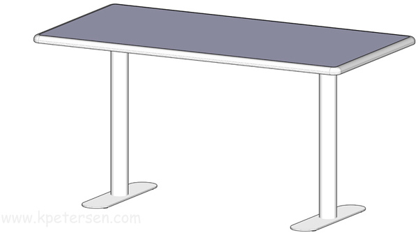Stainless Steel End Bases With Example Rectangular Table Top Drawing