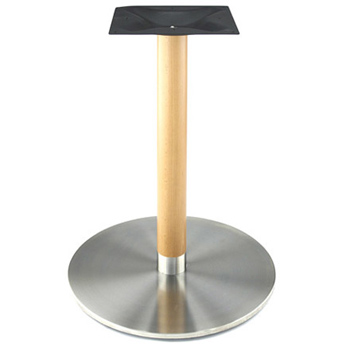 Stainless Steel Table Base with Wood Column