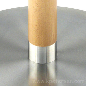 Stainless Steel Table Base with Wood Column Detail