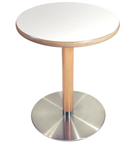 Stainless Steel Table Base with Wood Column and Round Wood Edge Table Top