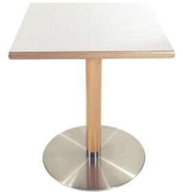 Stainless Steel Table Base with Wood Column and Square Wood Edge Table Top