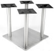 Large Square Bottom Stainless Steel Table Base with Four Three Inch Stainless Steel Columns