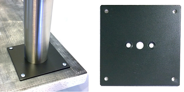 Two Inch Stainless Steel Table Leg Top Plate Detail