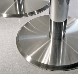Stainless Steel Table Base With 4 Inch Column Detail