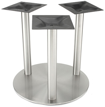 Large Stainless Steel Table Base with Three Stainless Steel Columns