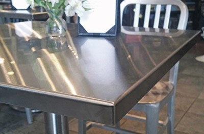 Stainless Steel Table Top Installation Corner Detail