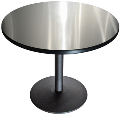 Round Stainless Steel Table Top With Black Vinyl Edge