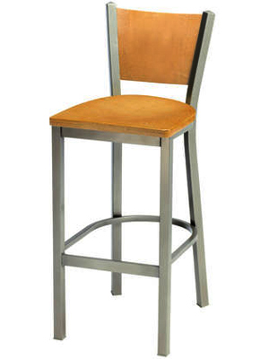 Steel Bar Stool with Wood Backrest and Wood Seat