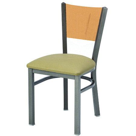 Steel Restaurant Chair Wood Back