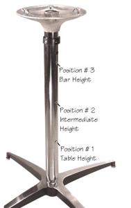 Adjustable Height Table Base Polished Aluminum Amp Chrome