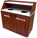Slant Style Custom Top Drop Waste Receptacle Double Unit