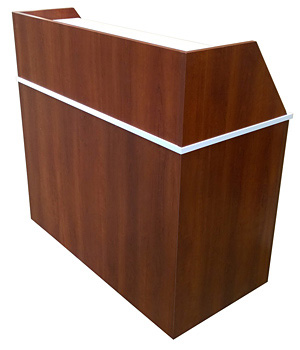 Double Top Drop Waste Receptacle Recycle Cabinet Rear View