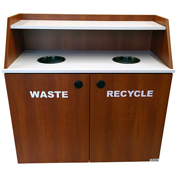 Double Top Drop Waste Receptacle Recycle Cabinet