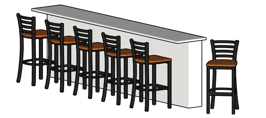 Trapezoid Steel Bar Stool Installation Drawing