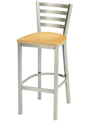 Trapezoid Bar Stool With Wood Seat