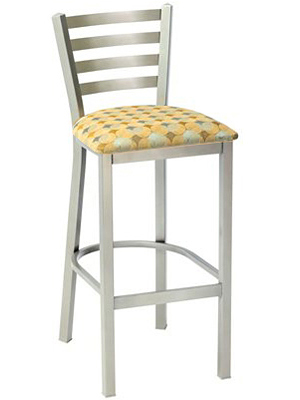 Trapezoid Steel Bar Stool with Upholstered Seat