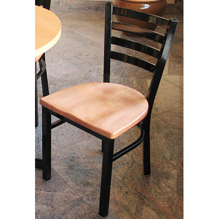 Trapezoid Style Steel Restaurant Chair Wood Seat