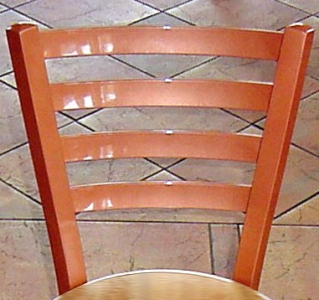 Trapezoid Chair Steel Back Detail