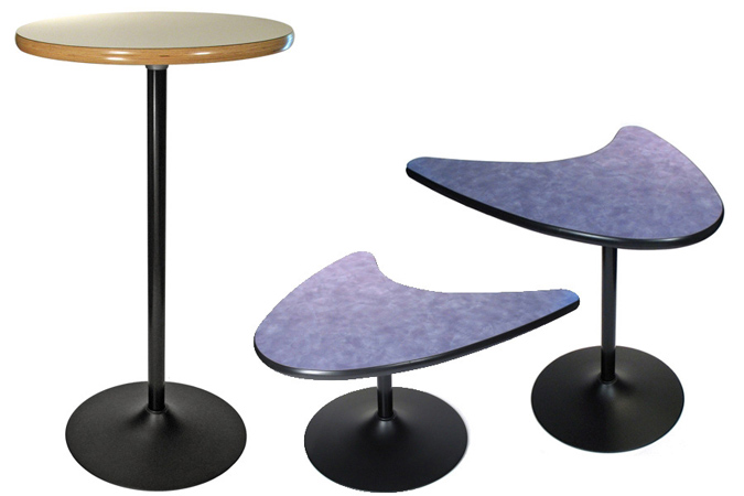 Black Finish Trumpet Table Bases             Coffee Table Height, Dining Height and Bar Height