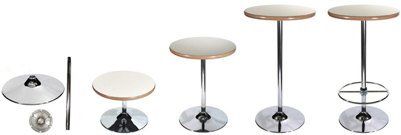 Chrome Trumpet Table Bases