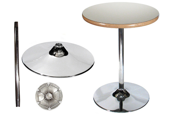Trumpet Table Bases Chrome