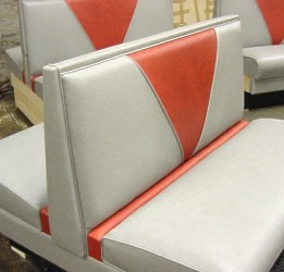 Upholstered Restaurant Booth With Crumb Rail