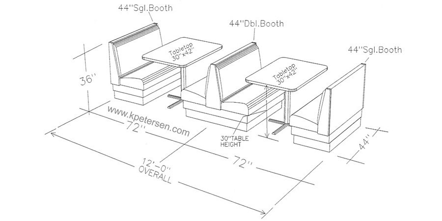 Typical Upholstered Booth Layout - Line Drawing Row Of Two Booths with Tables