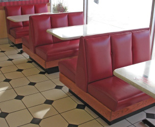 Upholstered Restaurant Booth Inside View