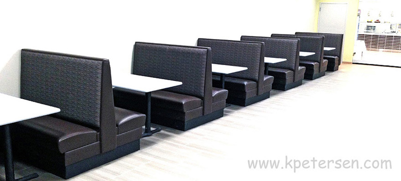 Row Of Upholstered Restaurant Booths Singles and Doubles