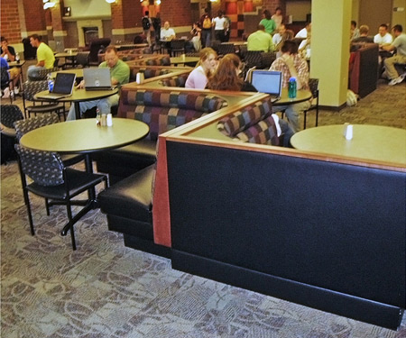 Upholstered Restaurant Booths Installation - Zig Zag Layout Collaborate
