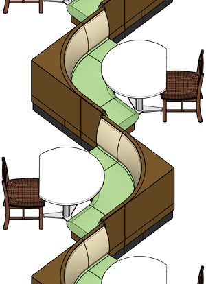 Upholstered Restaurant Booths Installation Drawing