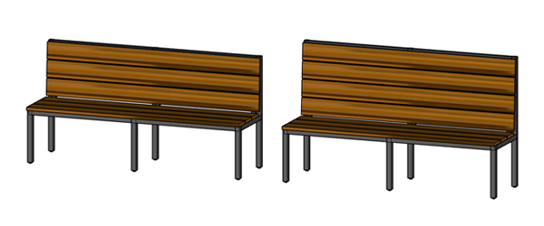Urban Industrial Steel Frame With Heavy Wood Slat Seats Restaurant Booth Custom Seat Lengths Available