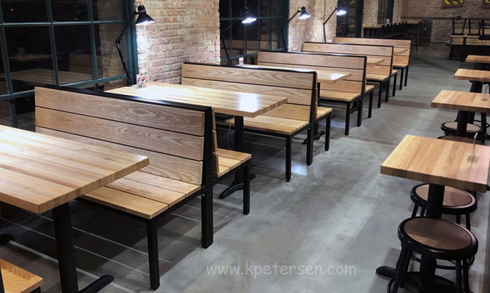 Urban Industrial Steel Frame With Heavy Wood Slat Seats Restaurant Booth Benches Installation