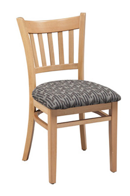 Vertical slatback Chair with Upholstered Seat