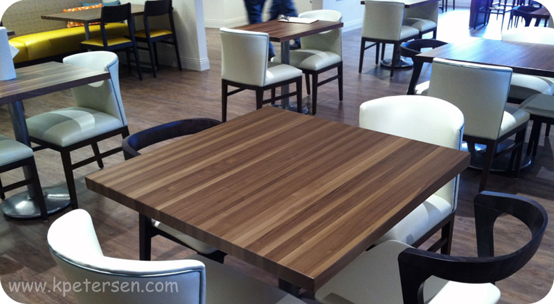 Solid Walnut Restaurant Tables Installation
