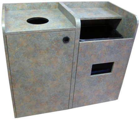 Coffee Shop Waste Receptacle Bussing Station Combination Front View