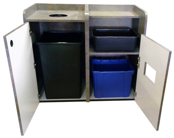 Coffee Shop Top Drop Waste Receptacle Bussing Station Combination Cabinet Doors Open Detail
