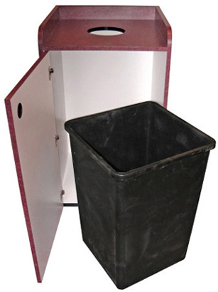 Coffee Shop Top Drop Waste Receptacle Door Open with Rigid Liner