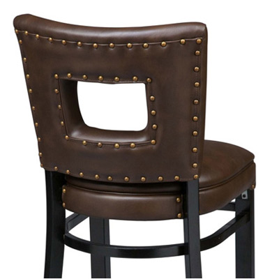 Deluxe Window Seat Wood Bar Stool Rear View