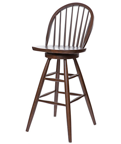 Early American, Windsor Style Wood Swivel Bar Chair Wood Seat