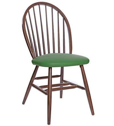 Early American, Windsor Style Wood Restaurant Dining Room Chair Padded Seat
