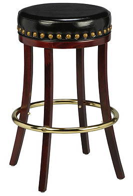 Backless Wood Club Stool with Large Nail Trim