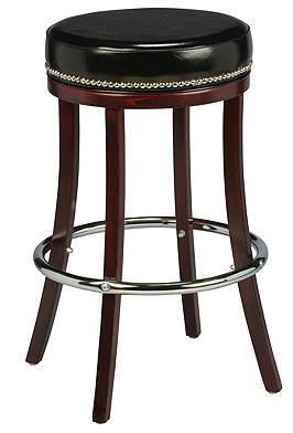 Backless Wood Club Stool with Small Nail Trim