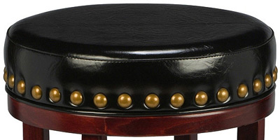 Backless Wood Club Stool with Large Nail Trim Detail